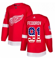 Mens Adidas Detroit Red Wings 91 Sergei Fedorov Authentic Red USA Flag Fashion NHL Jersey