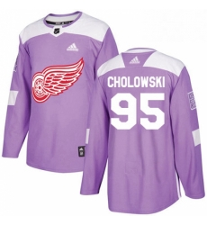 Mens Adidas Detroit Red Wings 95 Dennis Cholowski Authentic Purple Fights Cancer Practice NHL Jersey