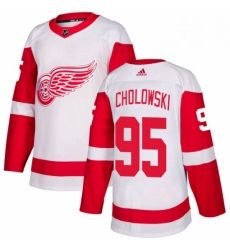 Mens Adidas Detroit Red Wings 95 Dennis Cholowski Authentic White Away NHL Jersey