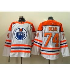 Men Edmonton Oilers Ethan Bear 74 White Orange 2021 Adidas Stitched NHL Jersey