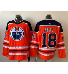 Men Edmonton Oilers James Neal 18 Adidas 2020 21 Orange Reverse Retro Alternate NHL Jersey