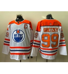Men Edmonton Oilers Wayne Gretzky 99 White Orange 2020 21 Reverse Retro Adidas Jersey