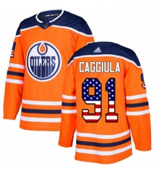 Mens Adidas Edmonton Oilers 91 Drake Caggiula Authentic Orange USA Flag Fashion NHL Jersey