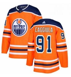 Mens Adidas Edmonton Oilers 91 Drake Caggiula Premier Orange Home NHL Jersey