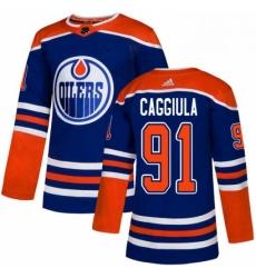 Mens Adidas Edmonton Oilers 91 Drake Caggiula Premier Royal Blue Alternate NHL Jersey