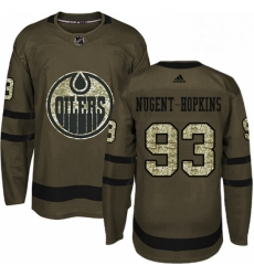 Mens Adidas Edmonton Oilers 93 Ryan Nugent Hopkins Authentic Green Salute to Service NHL Jersey