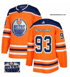 Mens Adidas Edmonton Oilers 93 Ryan Nugent Hopkins Authentic Orange Fashion Gold NHL Jersey