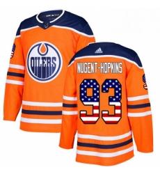Mens Adidas Edmonton Oilers 93 Ryan Nugent Hopkins Authentic Orange USA Flag Fashion NHL Jersey