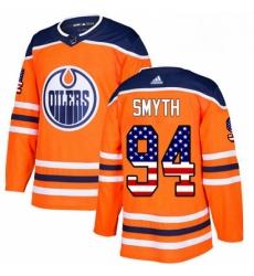 Mens Adidas Edmonton Oilers 94 Ryan Smyth Authentic Orange USA Flag Fashion NHL Jersey