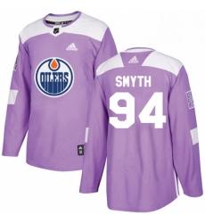 Mens Adidas Edmonton Oilers 94 Ryan Smyth Authentic Purple Fights Cancer Practice NHL Jersey