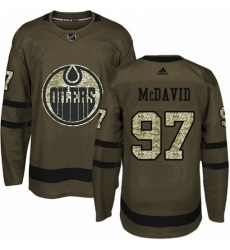 Mens Adidas Edmonton Oilers 97 Connor McDavid Authentic Green Salute to Service NHL Jersey