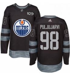 Mens Adidas Edmonton Oilers 98 Jesse Puljujarvi Authentic Black 1917 2017 100th Anniversary NHL Jersey