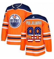 Mens Adidas Edmonton Oilers 98 Jesse Puljujarvi Authentic Orange USA Flag Fashion NHL Jersey