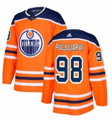 Mens Adidas Edmonton Oilers 98 Jesse Puljujarvi Premier Orange Home NHL Jersey