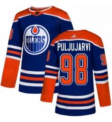Mens Adidas Edmonton Oilers 98 Jesse Puljujarvi Premier Royal Blue Alternate NHL Jersey