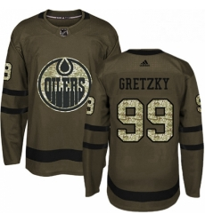Mens Adidas Edmonton Oilers 99 Wayne Gretzky Authentic Green Salute to Service NHL Jersey