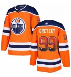 Mens Adidas Edmonton Oilers 99 Wayne Gretzky Authentic Orange Drift Fashion NHL Jersey