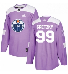 Mens Adidas Edmonton Oilers 99 Wayne Gretzky Authentic Purple Fights Cancer Practice NHL Jersey