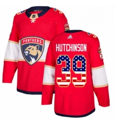 Mens Adidas Florida Panthers 39 Michael Hutchinson Authentic Red USA Flag Fashion NHL Jersey