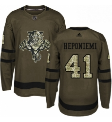 Mens Adidas Florida Panthers 41 Aleksi Heponiemi Authentic Green Salute to Service NHL Jersey
