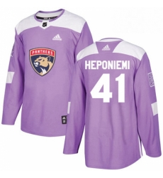 Mens Adidas Florida Panthers 41 Aleksi Heponiemi Authentic Purple Fights Cancer Practice NHL Jersey