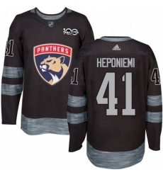 Mens Adidas Florida Panthers 41 Aleksi Heponiemi Premier Black 1917 2017 100th Anniversary NHL Jersey
