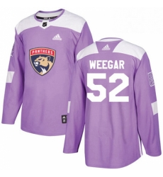 Mens Adidas Florida Panthers 52 MacKenzie Weegar Authentic Purple Fights Cancer Practice NHL Jersey
