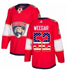 Mens Adidas Florida Panthers 52 MacKenzie Weegar Authentic Red USA Flag Fashion NHL Jersey