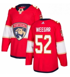 Mens Adidas Florida Panthers 52 MacKenzie Weegar Premier Red Home NHL Jersey