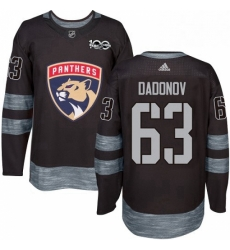 Mens Adidas Florida Panthers 63 Evgenii Dadonov Authentic Black 1917 2017 100th Anniversary NHL Jersey