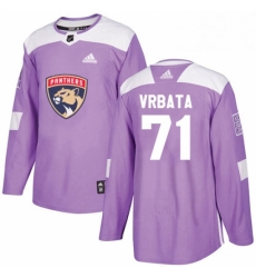 Mens Adidas Florida Panthers 71 Radim Vrbata Authentic Purple Fights Cancer Practice NHL Jersey