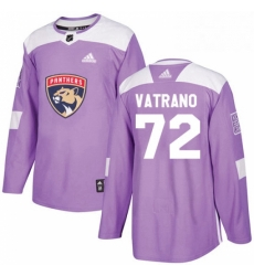Mens Adidas Florida Panthers 72 Frank Vatrano Authentic Purple Fights Cancer Practice NHL Jersey