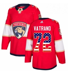 Mens Adidas Florida Panthers 72 Frank Vatrano Authentic Red USA Flag Fashion NHL Jersey