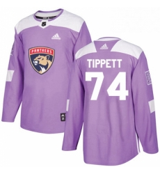 Mens Adidas Florida Panthers 74 Owen Tippett Authentic Purple Fights Cancer Practice NHL Jersey