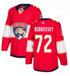 Panthers #72 Sergei Bobrovsky Red Home Authentic Stitched Youth Hockey Jersey