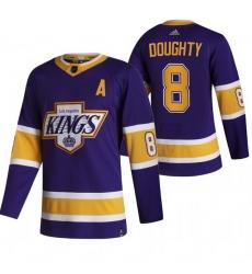 Men Los Angeles Kings 8 Drew Doughty Black Adidas 2020 21 Reverse Retro Alternate NHL Jersey