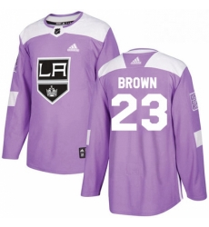 Mens Adidas Los Angeles Kings 23 Dustin Brown Authentic Purple Fights Cancer Practice NHL Jersey