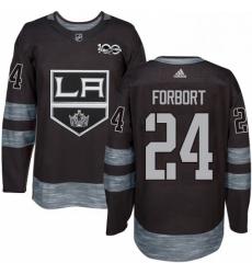 Mens Adidas Los Angeles Kings 24 Derek Forbort Authentic Black 1917 2017 100th Anniversary NHL Jersey