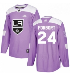 Mens Adidas Los Angeles Kings 24 Derek Forbort Authentic Purple Fights Cancer Practice NHL Jersey