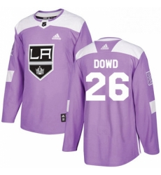 Mens Adidas Los Angeles Kings 26 Nic Dowd Authentic Purple Fights Cancer Practice NHL Jersey