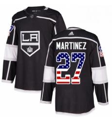 Mens Adidas Los Angeles Kings 27 Alec Martinez Authentic Black USA Flag Fashion NHL Jersey