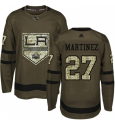 Mens Adidas Los Angeles Kings 27 Alec Martinez Authentic Green Salute to Service NHL Jersey