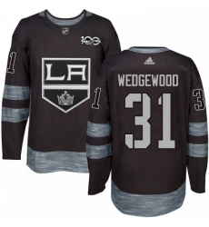 Mens Adidas Los Angeles Kings 31 Scott Wedgewood Authentic Black 1917 2017 100th Anniversary NHL Jersey