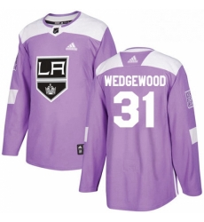 Mens Adidas Los Angeles Kings 31 Scott Wedgewood Authentic Purple Fights Cancer Practice NHL Jersey