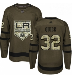Mens Adidas Los Angeles Kings 32 Jonathan Quick Authentic Green Salute to Service NHL Jersey