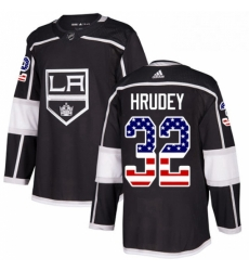 Mens Adidas Los Angeles Kings 32 Kelly Hrudey Authentic Black USA Flag Fashion NHL Jersey