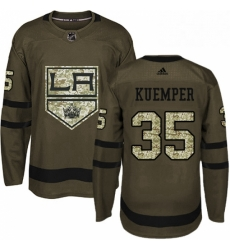 Mens Adidas Los Angeles Kings 35 Darcy Kuemper Authentic Green Salute to Service NHL Jersey