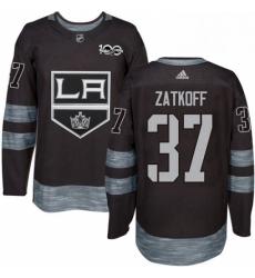 Mens Adidas Los Angeles Kings 37 Jeff Zatkoff Authentic Black 1917 2017 100th Anniversary NHL Jersey