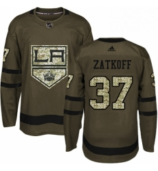 Mens Adidas Los Angeles Kings 37 Jeff Zatkoff Authentic Green Salute to Service NHL Jersey
