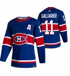 Men Montreal Canadiens 11 Brendan Gallagher Blue Adidas 2020 21 Reverse Retro Alternate NHL Jersey